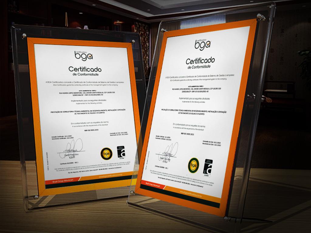 Grupo H20 Ambiental recebe certificados internacionais de Conformidade de Sistema de Gestão, ISO 9.001:2015 e ISO 14.001:2015 (Qualidade e Meio Ambiente).